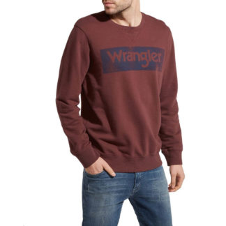 WRANGLER FELPA LOGO CREW BURGUNDY RED W6532HY5U