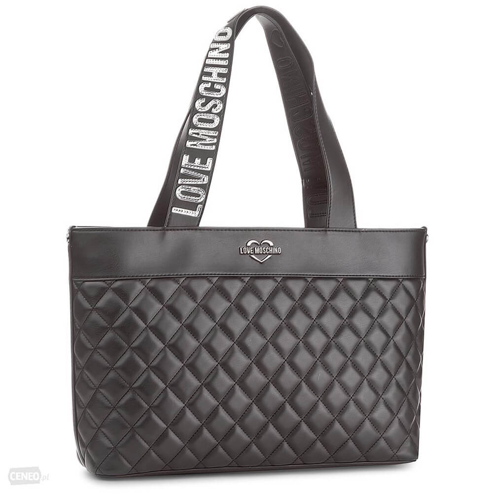 9ebfd86bd7 LOVE MOSCHINO BAG QUILTED METALLIC PU BLACK JC4001PP15LA0000 ...
