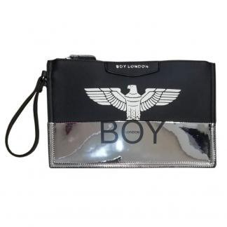 BOY LONDON POCHETTE ECOPELLE BICOLOR STAMPA BLA219 NERO SILVER