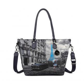 YNOT SHOPPING BAG ZIP MED K396 BLUE R PARIS