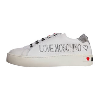 LOVE MOSCHINO SNEAKERS DONNA CASSETTA VITELLO BIANCO JA15243G17IA0100