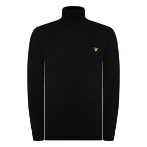 LYLE & SCOTT PULL Cotton Merino COLLO ALTO KN1020V 572 BLACK COTTON E WOOL