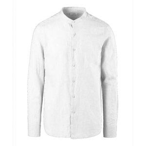 BOMBOOGIE Camicia Lino e Cotone Collo alla Coreana SM5897TLICO 00 OPTIC WHITE