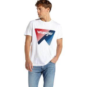WRANGLER T SHIRT BOX LOGO W7C09FK12 BIANCO