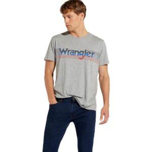 WRANGLER T SHIRT BOX LOGO W7C09FK37 GREY