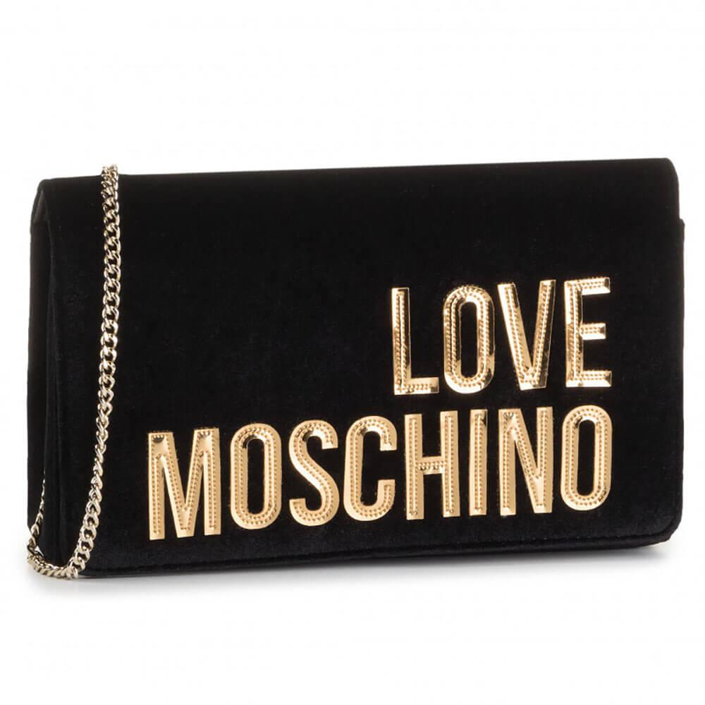 Details about Love Moschino Bag Velvet Black JC4125PP18LZ0000