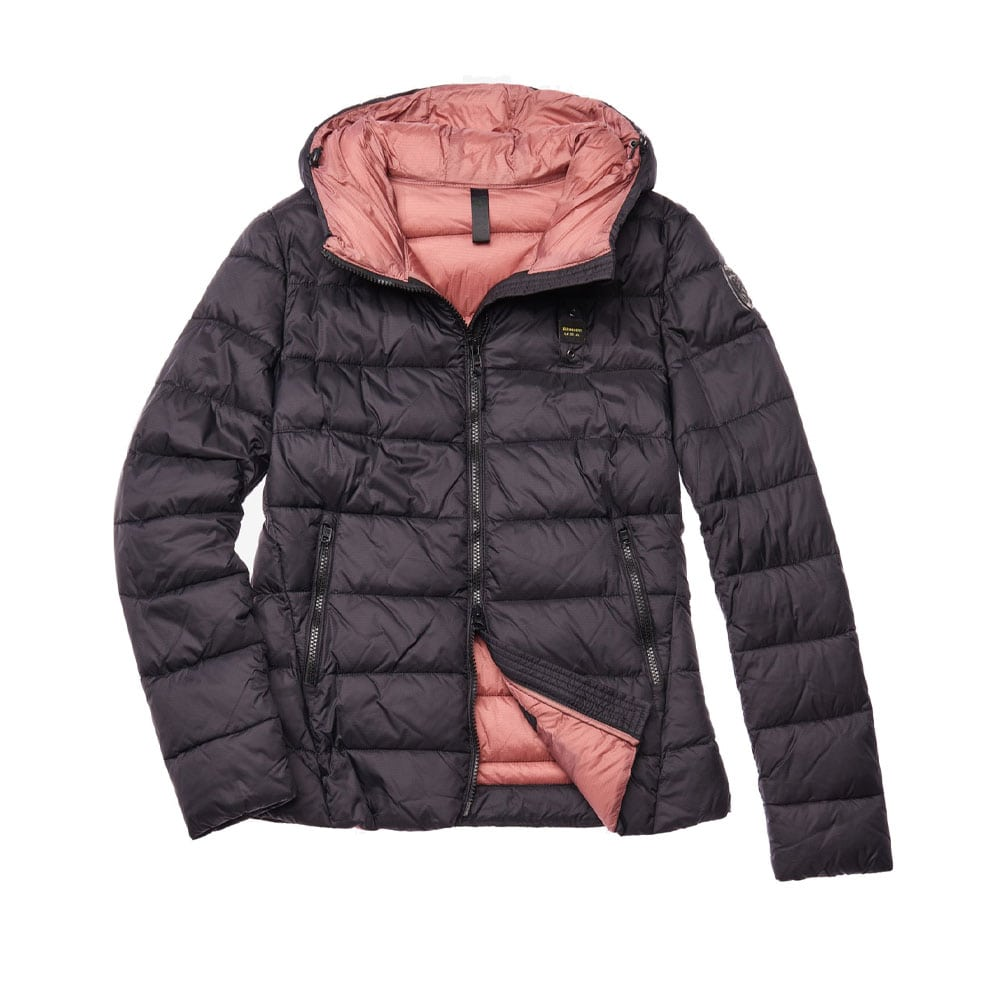 cheap for discount 0cef3 15ac8 BLAUER PIUMINO DONNA LIGHT BIO CON CAPPUCCIO POWELL 19WBLDC02023 5486 999  NERO int. ROSA