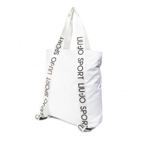 Borsa shopping donna Liu jo con logo in nylon bianco ottico