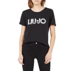 LIU JO T-SHIRT M/M DONNA TA0108 J5003 U9872 NERO/ST.SEQUINS