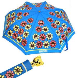MOSCHINO OMBRELLO DONNA 8126 FLOWER BEAR AZZURRO