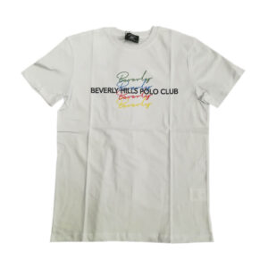 BEVERLY HILLS POLO CLUB T SHIRT G/C M/M CON STAMPA BHPC6305 WHITE