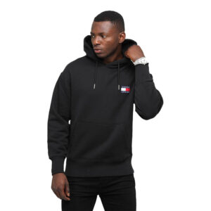 TOMMY JEANS FELPA BADGE HOOD DM0DM06593 BDS NERO