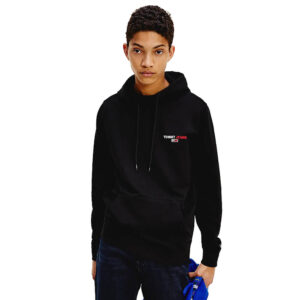 TOMMY JEANS CHEST GRAPHIC HOODIE DM0DM08730BDS BLACK