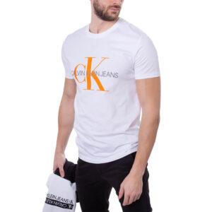CALVIN KLEIN T SHIRT UOMO J30J317065YAF WHITE ORANGE