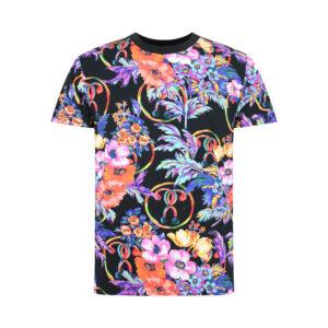 MOSCHINO T SHIRT UOMO A1905 2314 1555 BLACK FLOWER