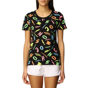 MOSCHINO T SHIRT DONNA A1918 2138 5888 LETTERING MULTICOLOR