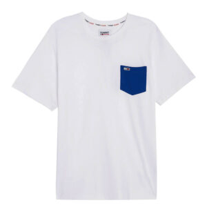 TOMMY JEANS T SHIRT CONTRAST POCKET DM0DM10283 YBR BIANCO