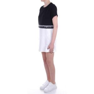 MOSCHINO MAXI T SHIRT DONNA A1920 9021 1555 BLACK WHITE