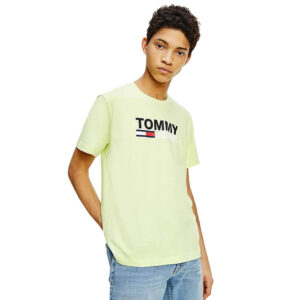 TOMMY JEANS T SHIRT CORP LOGO DM0DM10214LT3 LIME