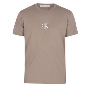 CALVIN KLEIN UOMO T SHIRT SMALL CHEST MONOGRAM J30J314267 PBU ELEPHANT SKIN