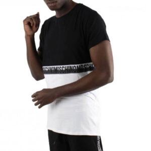 MOSCHINO T SHIRT UOMO A1909 8121 1555 BLACK WHITE