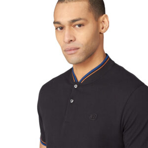 BEN SHERMAN 63362 290 BASEBALL COLLAR POLO BLACK