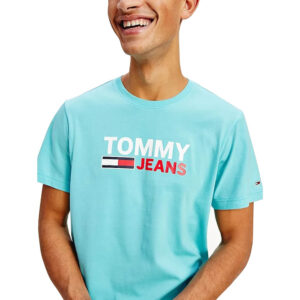 TOMMY JEANS T SHIRT CORP LOGO DM0DM10214CTA CHLORINE BLUE