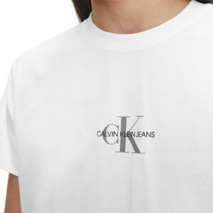 CALVIN KLEIN UOMO T SHIRT SMALL CHEST MONOGRAM J30J314267 YAF WHITE