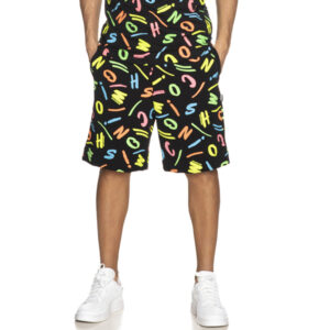 MOSCHINO BEACH PANTS UOMO A6713 2342 5888 BLACK LETTERINGS