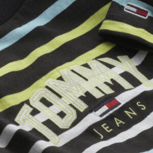 TOMMY JEANS T SHIRT RIGHE DM0DM10266 BDS BLACK MULTICOLOR