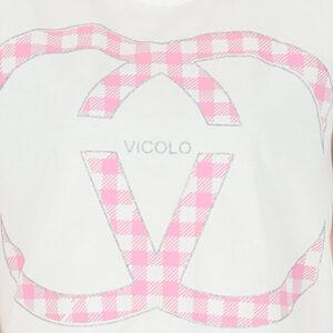 VICOLO T SHIRT RH0156 TAGLIA UNICA BIANCO ROSA
