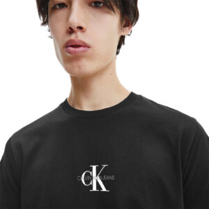 CALVIN KLEIN UOMO T SHIRT SMALL CHEST MONOGRAM J30J314267 BAE BLACK