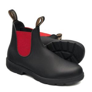 BLUNDSTONE 508 CHELSEA BOOTS IN PELLE BLACK RED